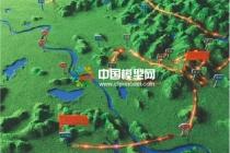 红十五军作战线路图沙盘模型